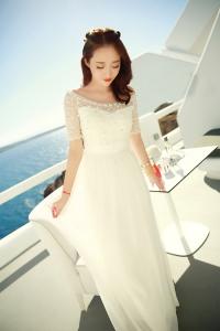 '.Длинное белое платье .'