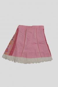 '.Юбка розовая с белой обороткой и вышивным рисунком (2 года) .'