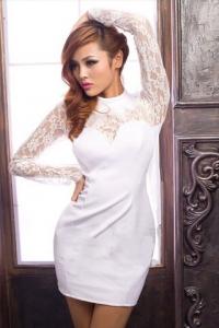 '.Белоснежное платье с кружевным верхом .'