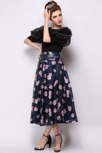 '.Цветочная юбка с широким поясом .'