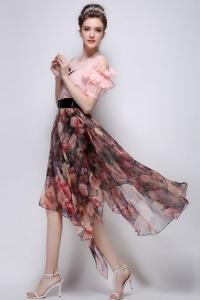 '.Асимметричная шифоновая юбка .'