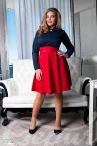 '.Стильная юбка-полусолнце с завышенной талией .'